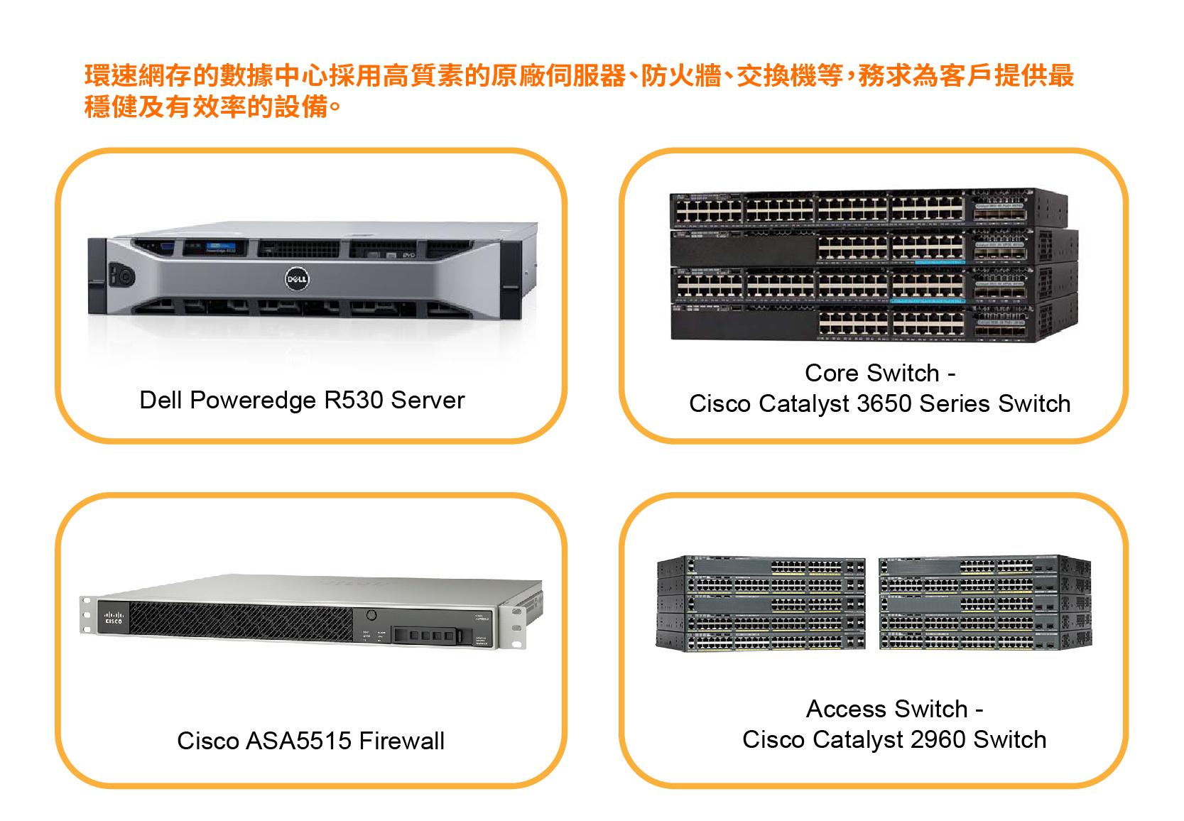 環速網存的數據中心採用高質素的原廠伺服器、防火牆、交換機等,務求為客戶提供最穩健及有效率的設備,絕不為遷就成本,而採用價格低廉、質素缺乏保證的設備。